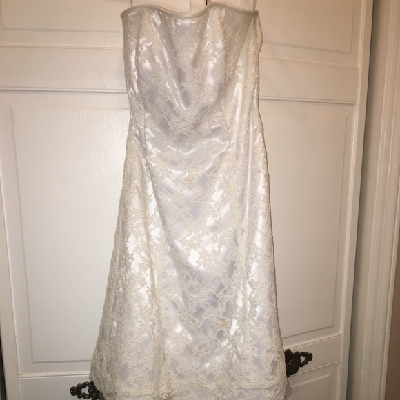Jessica McClintock Dresses | White Strapless Dress | Poshmark